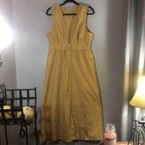 Urban Outfitters yellow + white button front dress
